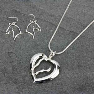 Heart Shape Horse Necklace & Earrings Set